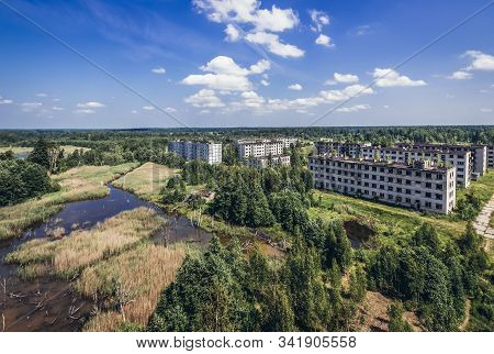 Aerial view in Skrunda 1 abandoned Soviet military town and radar station located in Courland region, Latvia stock photo