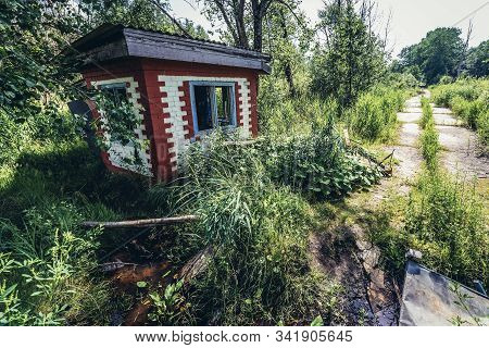Checkpoint in Soviet military ghost town and radar station called Skrunda 1 in Latvia stock photo