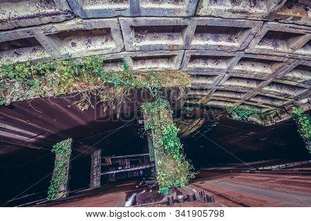 Abandoned and unfinished bunker from Soviet era called Object 1180 near Oliscani village, Moldova stock photo