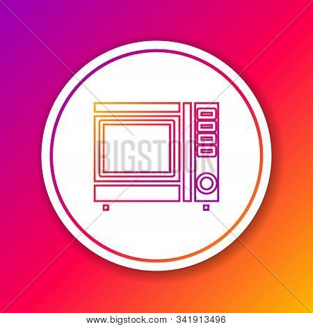 Color line Microwave oven icon isolated on color background. Home appliances icon. Circle white button. Vector Illustration stock photo