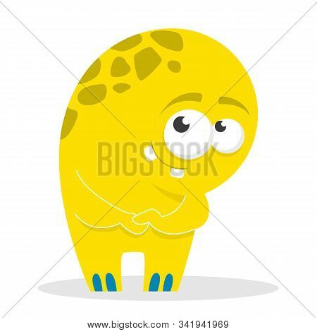 Monster vector isolated. Colorful and cute creature. Shy monster standing and smiling. Funny yellow alien. stock photo