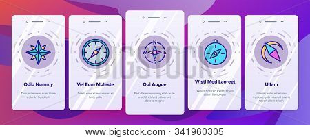Compass Navigation Onboarding Mobile App Page Screen Vector. Compass Map Navigate Equipment And Cartography Mark Illustrations stock photo