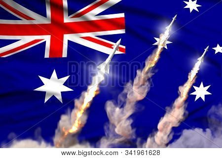 Australia ballistic missile launch - modern strategic nuclear rocket weapons concept on flag fabric background, military industrial 3D illustration with flag stock photo