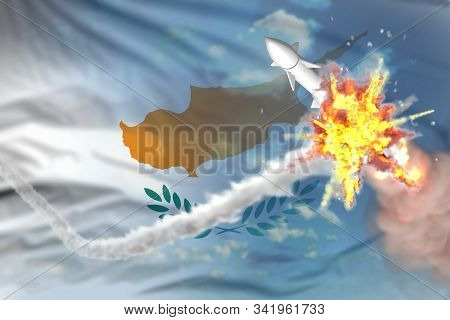 Cyprus intercepted nuclear warhead, modern antirocket destroys enemy missile concept, military industrial 3D illustration with flag stock photo