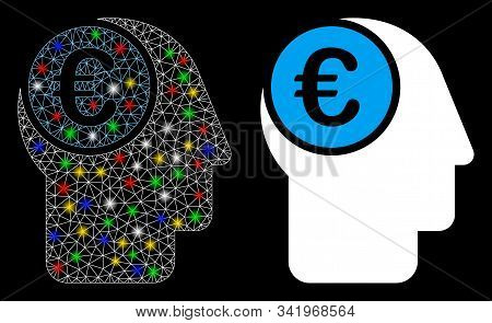 Glossy mesh euro mind icon with lightspot effect. Abstract illuminated model of euro mind. Shiny wire frame polygonal mesh euro mind icon. Vector abstraction on a black background. stock photo