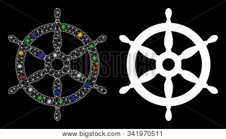 Glowing mesh ship wheel icon with lightspot effect. Abstract illuminated model of ship wheel. Shiny wire carcass triangular mesh ship wheel icon. Vector abstraction on a black background. stock photo
