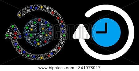Glossy mesh repeat clock icon with glow effect. Abstract illuminated model of repeat clock. Shiny wire carcass polygonal mesh repeat clock icon. Vector abstraction on a black background. stock photo