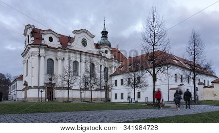 Scenic view of Brevnov monatery in Prague, Czech Republic during twilight. Benedictine Archabbey of St Adalbert and St Margaret was founded in 993 AD stock photo