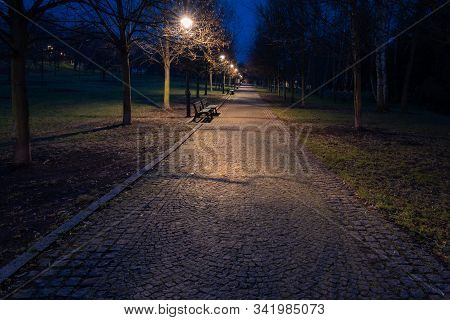 View of empty cobbled path in a public town park in Prague in twilight. Calm and quiet place suitable for relaxation and walks in twilight. stock photo