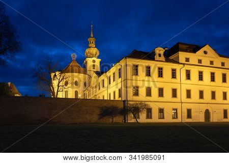 Night view of Brevnov monatery in Prague, Czech Republic. Benedictine Archabbey of St Adalbert and St Margaret was founded in 993 AD stock photo