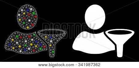 Glowing mesh user filter icon with glare effect. Abstract illuminated model of user filter. Shiny wire carcass triangular network user filter icon. Vector abstraction on a black background. stock photo