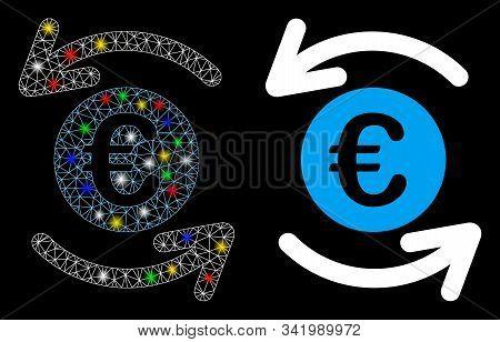 Flare mesh update Euro balance icon with sparkle effect. Abstract illuminated model of update Euro balance. Shiny wire frame polygonal mesh update Euro balance icon. stock photo
