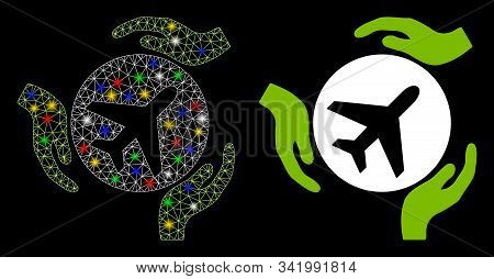 Glossy mesh aviation care hands icon with lightspot effect. Abstract illuminated model of aviation care hands. Shiny wire carcass triangular network aviation care hands icon. stock photo
