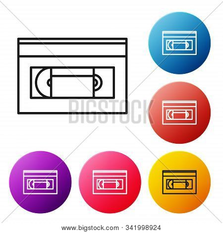 Black line VHS video cassette tape icon isolated on white background. Set icons colorful circle buttons. Vector Illustration stock photo