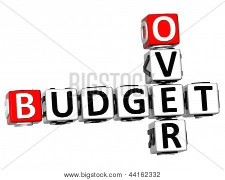 3D Over Budget Crossword on white background stock photo