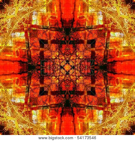 Art eastern national traditional pattern, blurred and graphic background in red,  orange, brown and