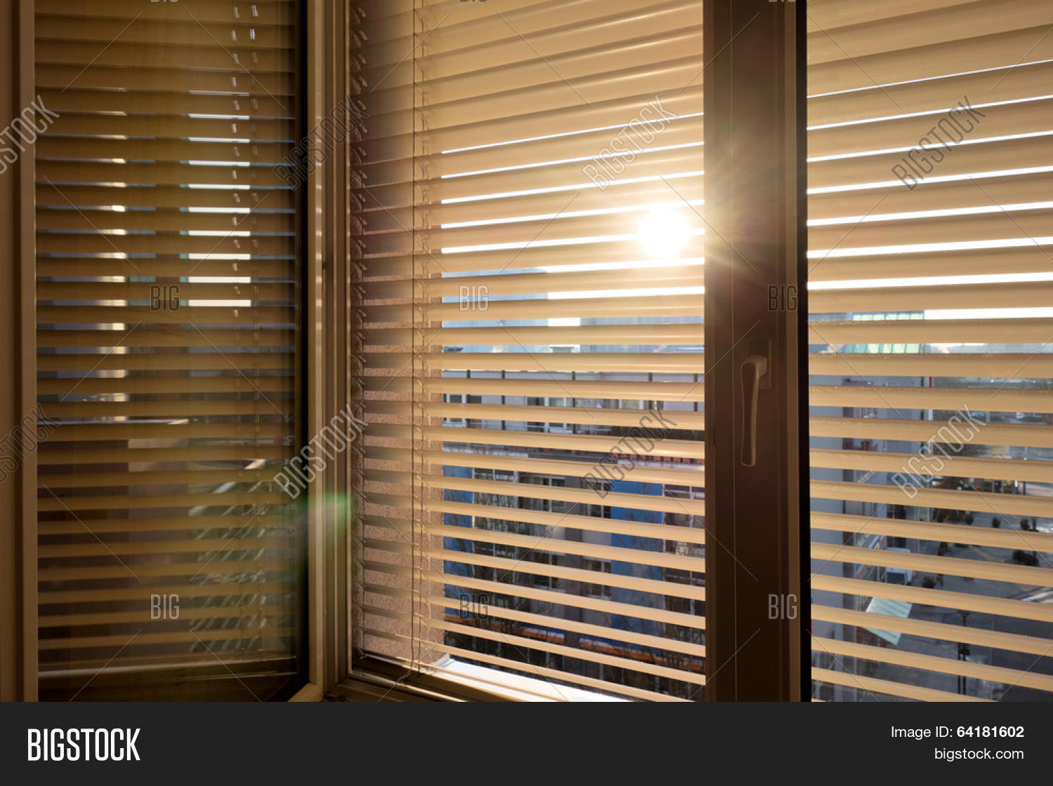 To Protect Against Heat And Sun Blinds Are Attached To A Window Image Stock Photo 64181602