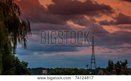 The high Crystal Palace transmitting station at dusk, Bromley, London, UK stock photo