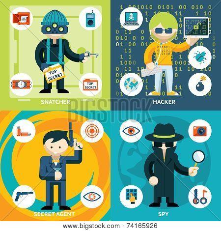Vector Colored Espionage and Criminal Activity Graphics. Emphasizing Snatcher  Hacker  Secret Agent and Spy Men. stock photo