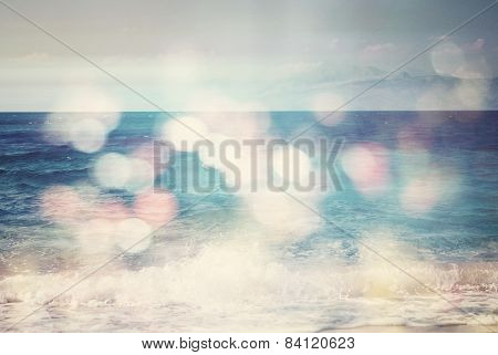 Background Of Blurred Beach And Sea Waves With Bokeh Lights And Vintage Filter/effect