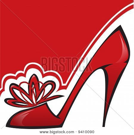 red shoe with a high heel on the asymmetric background stock photo