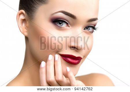 Beautiful model woman in beauty salon makeup Young modern girl in luxurious spa Lady make up Mascara