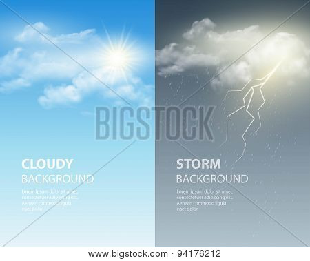 Thunder and lightning, sun and clouds. Weather background. Vector illustration EPS 10 stock photo