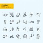 Thin line symbols set