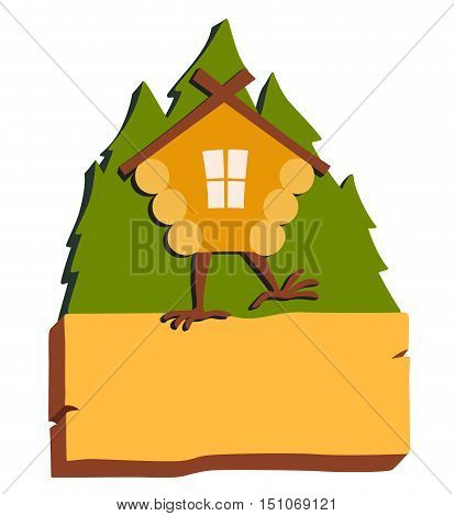 Hut in forest vector logo. Cartoon old house on chicken legs with window baba yaga home. Fairy magic village is on the board. Symbol of fairytale forest isolated on white background illustration stock photo
