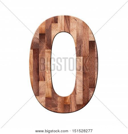 Wooden parquet alphabet letter symbol - O. Isolated on white background stock photo