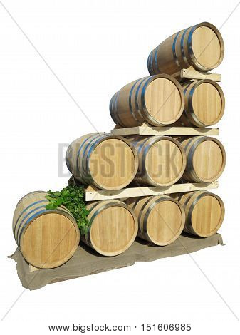 New Brown Wine Barrels In A Wooden Stack Isolated Over White-Lg Fridge Magnet Skin (size 36x65)