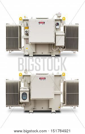 Three phase (1500 kVA) radiator fin hermetic sealed type with nitrogen gas cushion oil immersed transformer isolated on white background with clipping path LV and HV side respectively stock photo