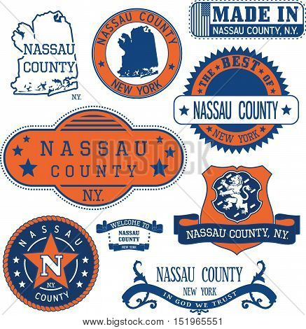 Nassau county New York. Set of generic stamps and signs including Nassau county map and seal elements. stock photo