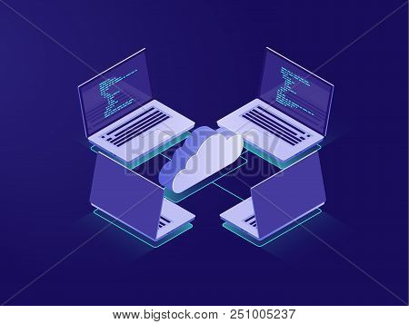 Networking with four laptops, internet connection, cloud data storage, server room, backup files, database remote access isometric illustration vector neon dark stock photo