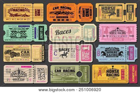 Auto And Horse Racing Sport Event Tickets Template. Admit One Cards With Vintage Racing Car, Racehor