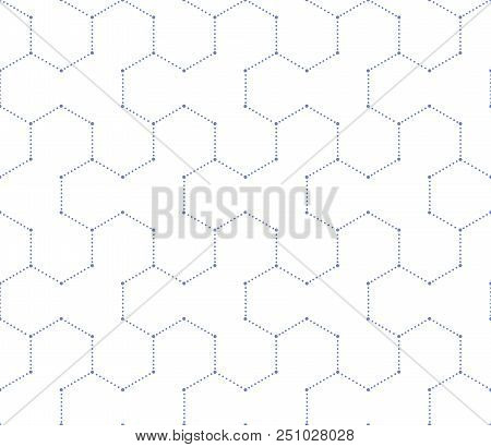 Geometric blue and wihite pattern with points. seamless background. stock photo