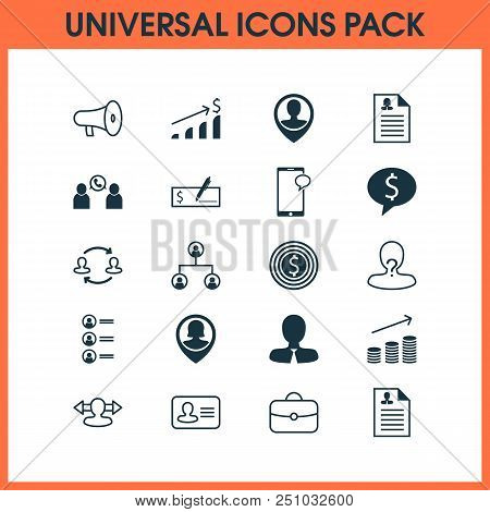 Human icons set with catalogue of employees, identity, dollar bank check and other messaging elements. Isolated  illustration human icons. stock photo
