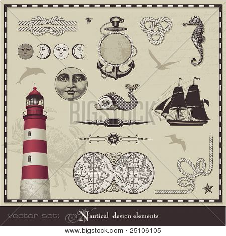 vector set: nautical configuration components - set of retro oceanic delineations