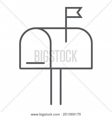 Mail box thin line icon, letter and post, mailbox sign, vector graphics, a linear pattern on a white background, eps 10. stock photo