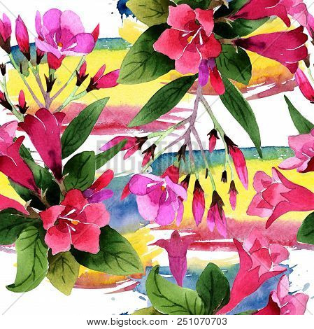 Watercolor pink weigela florida flowers. Seamless background pattern. Fabric wallpaper print texture. Aquarelle wildflower for background, texture, wrapper pattern, frame or border. stock photo