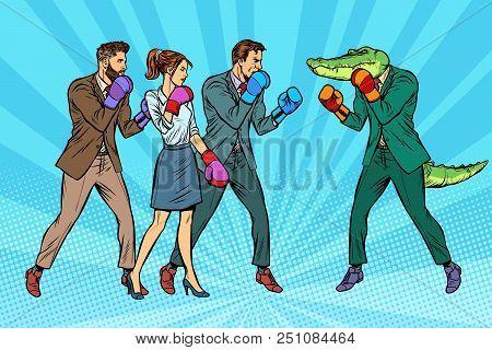 People Boxing a reptilian crocodile. Pop art retro vector illustration kitsch vintage stock photo