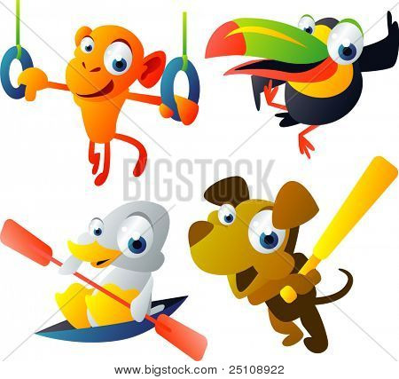 vector animal set 46: monkey, toucan, duck, dog stock photo