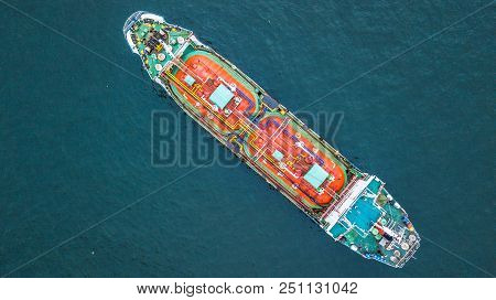 Aerial top view oil tanker ship, Tanker for import export business logistic and transportation. stock photo