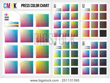 CMYK press color chart. Vector color palette, CMYK process printing match. Color management, quality control in print production. Cyan, magenta, yellow, black are base colors and others has been created combining them.To use in prepress and the press to c stock photo