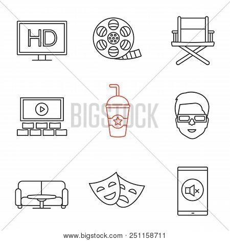 Cinema linear icons set. HD, filmstrip roll, director chair, screen, drink, 3D glasses, table and sofa, theater masks, turn off sign. Thin line contour symbols. Isolated vector outline illustrations stock photo