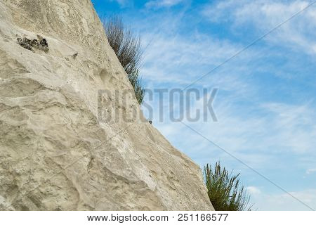 the white limy rock overgrown with a grass against the background of the summer blue sky stock photo