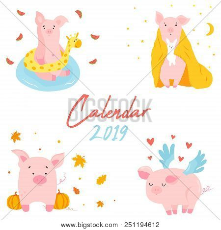 2019 calendar with funny pig. Monthly page. Character design. editable template stock photo