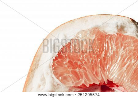 Closeup of slice of a blood orange. art abstract absurdity stock photo