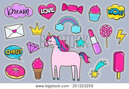 Modern cute girly colorful patch set. Fashion patches of unicorn, lipstick, crown, diamond, love letter, rainbow, hearts, donut, cupcake, comic bubbles etc. Cartoon 80s-90s style. Vector illustration stock photo