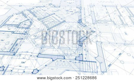 Architecture design: blueprint plan - illustration of a plan modern residential building / technolog